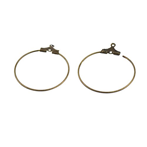 SM SunniMix 20 Plated Brass Round Hoop Ear Wire Dangle Earwire Earrings 25mm Smooth with Loop Add a Bead Hoops, for Earrings, 7 Colors to Choose - Antique Bronze 25 Mm Round Hoop