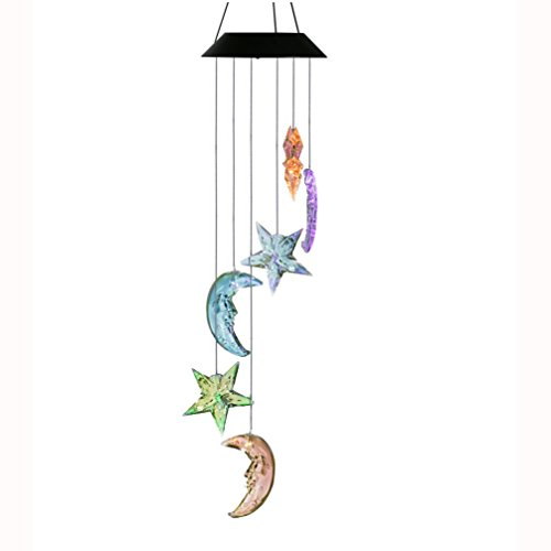 Changing Color Stars and Moon Wind Chime, AceList Spiral Spinner Windchime Portable Outdoor Decorative Romantic Windbell Light for Patio, Deck, Yard, Garden, Home, Pathway (Backyard Stars)