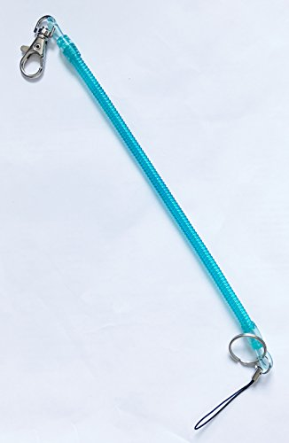 Lobster Clasp Plastic Spring Coiled Strap Lanyard Coil Cord Stretch Tether Keychain (BLUE)