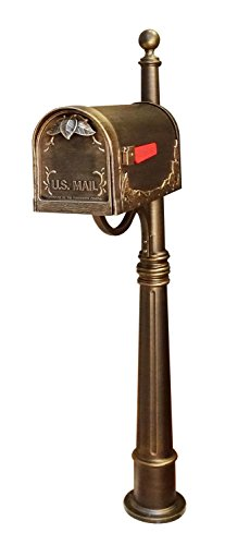 Floral Curbside Mailbox (Special Lite Products SCF-1003_SPK-600-BRZ Floral Curbside Mailbox with Ashland Post in Hand Rubbed Bronze)