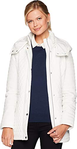 - Marc New York by Andrew Marc Women's Rosedelle Honeycomb Mini Quilted Car Coat w/Detach. Hood White Large