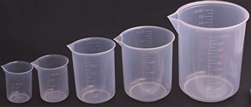 Measuring Beaker (Shapenty 5 Sizes 50ml / 100ml /250ml /500ml /1000ml Capacity Clear Plastic Graduated Measuring Beaker Set Liquid Cup Container, 5PCS)