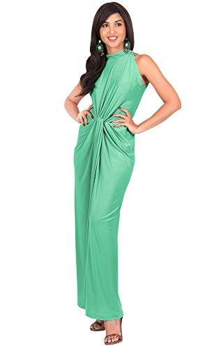 KOH KOH Plus Size Womens Long Sleeveless Sexy Vintage Cocktail Slimming Party Evening Summer Sun Prom Bridesmaid Wedding Guest Sundress Gown Gowns Maxi Dress Dresses, Moss/Mint Green 2XL 18-20