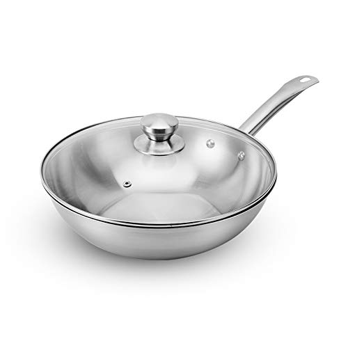 Food Grade 304 Stainless Steel, Suitable For Any Fire Source, Chinese Wok For Various Cooking Methods (White,30cm)