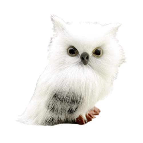 Toyvian Christmas White Owl Figurine Furry Hanging Ornament Winter Decoration for Home Office (White Ornaments Owl Feathered)