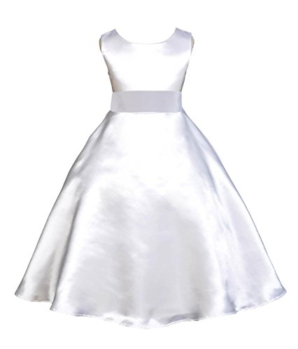 Wedding Pageant White A-Line Satin Flower Girl Dress First Communion Recital Toddler 821s 14 ()