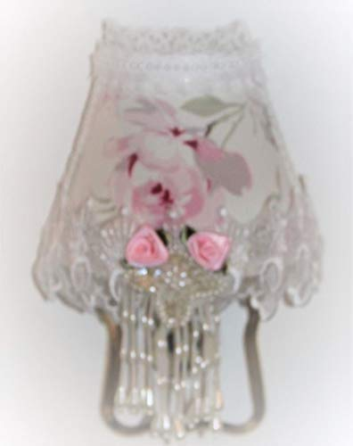 - Large Pink Rose Night Light with Sequin Beaded Applique & Organza Lace