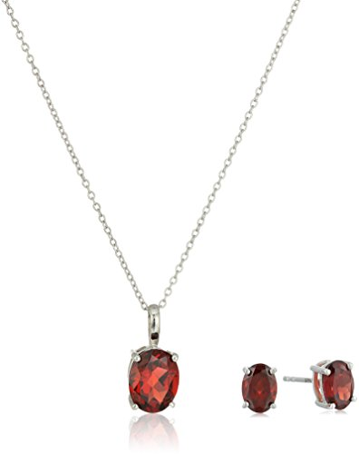 Garnet Jewelry Set in Sterling Silver, Oval Stud Earrings and Oval Pendant Necklace, 18