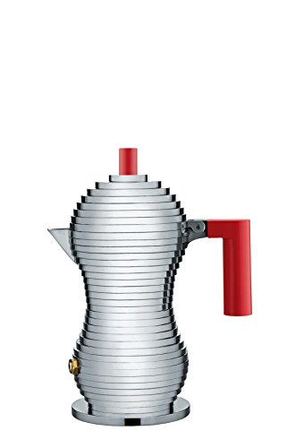 Alessi MDL02/1 R ''Pulcina'' Stove Top Espresso 1 Cup Coffee Maker in Aluminum Casting Handle And Knob in Pa, Red by Alessi