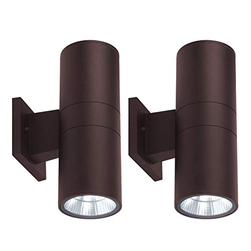 - OSTWIN (2 Pack) 2-Directions LED Outdoor Cylinder Up Down Light, 18W (120W Equivalent), 1482 Lumen, 5000K Daylight, Modern Light Fixture for Door Way, Corridor, Waterproof, Bronze, ETL and Energy Star