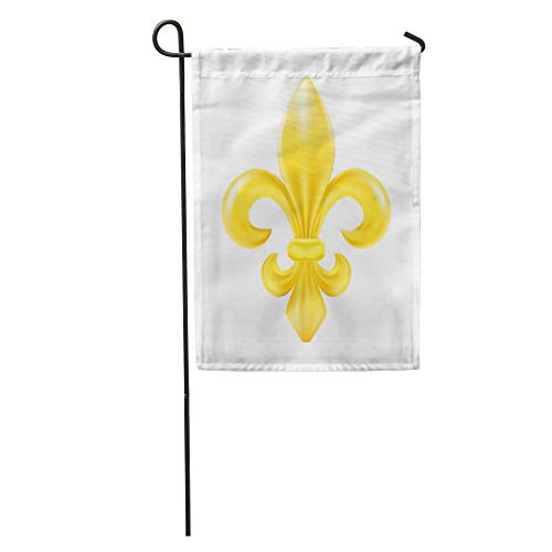 Semtomn Garden Flag Yellow Gold Golden Fleur De Lis Symbol Arms Classic Clip Home Yard Decor Barnner Outdoor Stand 12x18 Inches Flag -