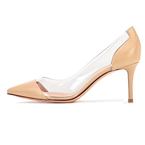 a0377fca6ce83 Sammitop Women s 80mm Pointed Toe Transparent Pumps Clear PVC High Heels  Dress Shoes new