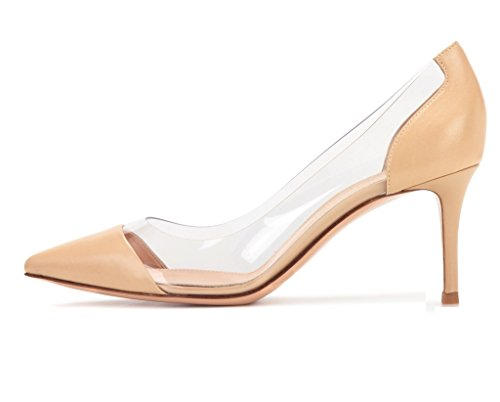 EDEFS Womens Pointed Toe High Heel Court Shoes Transparent Pumps 80mm Ladies Dress Shoes Nude