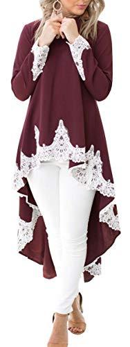 Women Lace Patchwork Long Sleeve High Low Tunic Top Asymmetrical Hem Blouse (Burgundy, ()