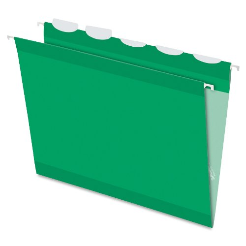 Pendaflex Ready-Tab Reinforced Hanging Folders with Lift Tab Technology, Letter Size, 5-Tab, Bright Green, 25 per Box (42626)