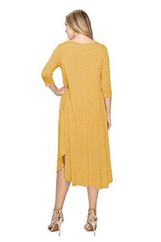 J Doe De Style Base Arrondie La Durée De Rayonne De Femmes Manches 3/4 Robe-usa De Base (taille: S-5x) Moutarde
