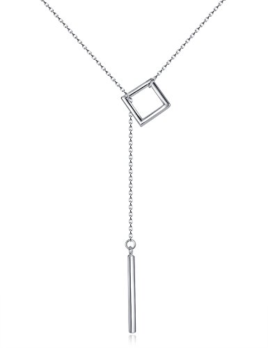 Sterling Silver Square Pendant Y Shape Necklace Simple Long Drop Bar Valentine's Day Gifts Birthday Gifts for Women Anniversary Gifts for Her Gifts for Girlfriend Wife Mom Sister Fashion Jewelry (Delicate Drop Necklace)