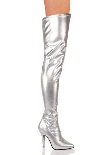 Pleaser SED3000/S/PU Women's Boot, Silver Stretch Faux Leather, 10 M US (Thigh Patent Boots Stretch)