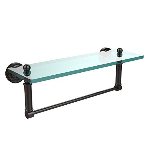 Allied Brass DT-1TB/16-ORB Glass Shelf with Towel Bar, 16-Inch x 5-Inch ()