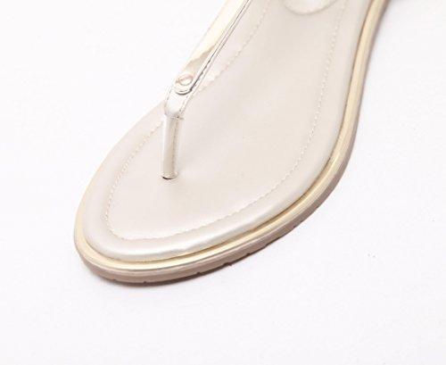 Rhinestone Zapatos Bohemia Mujer Casuales Sandalias Zapatos Descubierta de Dulce Toe Moda Plano Clip Sandalias para La Punta Sandalias Verano Mujeres Playa De Mujer Sandalias Oro 7qOvUvR