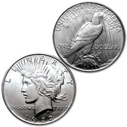1922-S - PEACE DOLLAR - CHOICE UNCIRCULATED - SILVER DOLLAR
