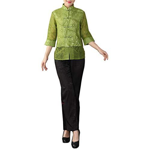 Bitablue Women's 3/4 Sleeve Chinese Shirt (Green,