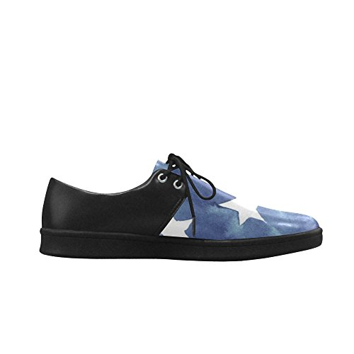 Interestprint Marine Bleu Et Blanc Motif Star Hommes Sneakers Fitness Courir Chaussures Oxford