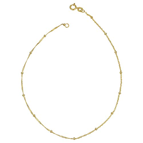 Kooljewelry 10k Yellow Gold Singapore Saturn Anklet (1.9 mm, 10 inch)