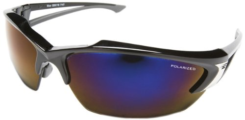 Edge Eyewear TSDKAP218 Khor Safety Glasses, Black with Polarized Aqua Precision Blue Mirror Lens - Kazbek Polarized Safety Glasses