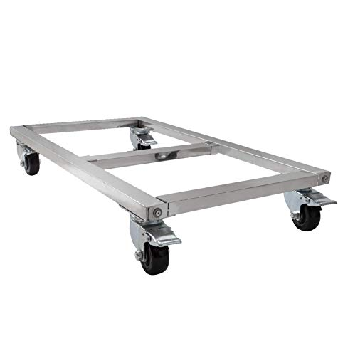 "SZ Stainless Steel QRQWR-08 Heavy Duty Movers 1600 lbs Capacity 18"" X 12"" Four Wheeled Moving Dolly. Rectangle Stainless Steel Platform. Well Made and Sturdy Enough for Long time use, White"