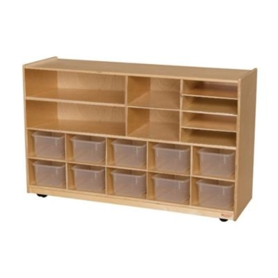 Wood Designs Kids Play Toy Book Plywood Organizer Wd1650112 Clear Trays Plus Shelving Storage