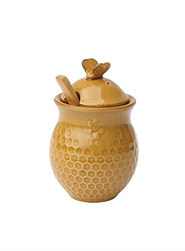 (Creative Co-Op Small 3 Piece Yellow with Decorative Bees Stoneware Honey Jar with Lid & Wood Honey Dipper)