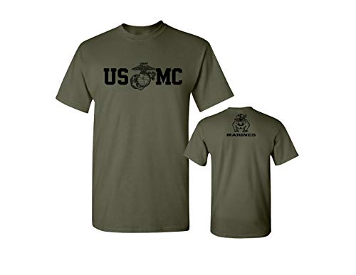 Marine Corps Military T-shirt - Lucky Ride Marine Corps Bull Dog Front & Back USMC Men's Military T-Shirt, Military Green,L