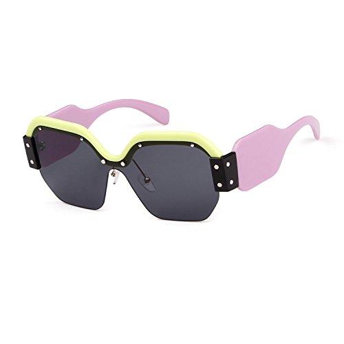 Oversized Sunglasses for Women Semi Rimless Trendy Candy Color Designer Glasses (Shiny Green, - Sunglasses Block