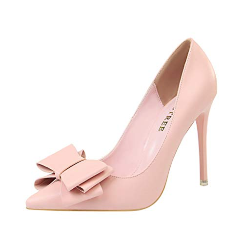 Womens Pumps Classic Bow High Heel Stiletto Dress Pumps for Wedding Party Shoes