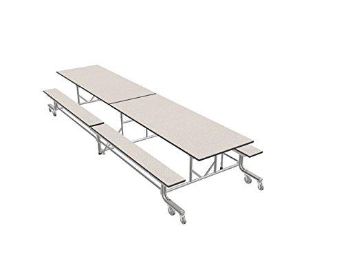 Palmer Hamilton Cafeteria Tables - Palmer Hamilton 19F Easy Folding Mobile School Table, Bench, White/Silver 29x30x144, Cafeteria Breakroom