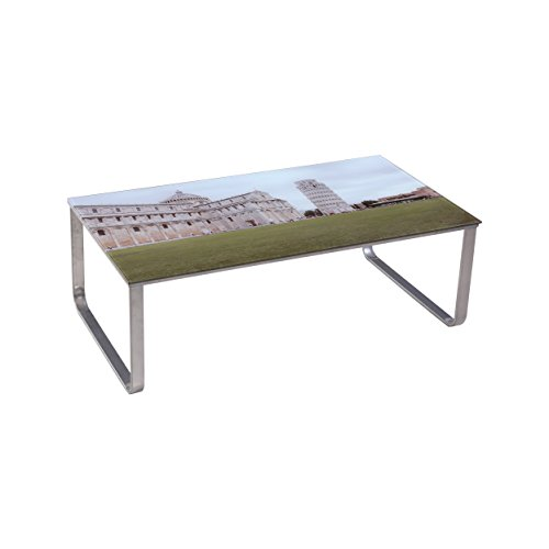 Pisa Coffee Table - US Pride Furniture Eclectic Living Room Coffee Table with Steel Frame and 8mm Tempered Glass Scenery Pattern Glass Top Leaning Tower of Pisa