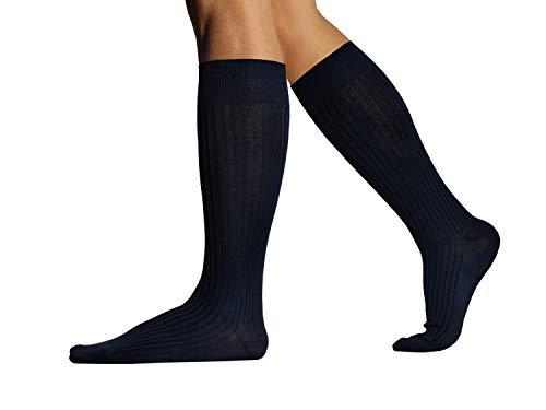 L.Martin Pima Cotton Over the Calf Dress Socks for Men 3Pairs Navy Blue 8-11/M