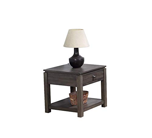 (Wood & Style Furniture Shades of Gray End Table, Weathered Grey Home Office Commerial Heavy Duty Strong Décor)