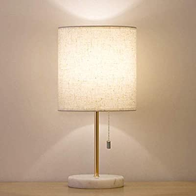 HAITRAL Bedside Table Lamp - Small Nightstand Lamp with Marble Base, Lamp for Bedroom, Office, Girls Room - Gold - ❥【SMALL SIZE VERSATILE LAMP】 Lamp dimensions - 15.5 x 7.5 x 5.5 inches, it's small table lamp but it fits the bill for a night lite and great for any bedside table, office desk, cafe, dresser. The elegant bedside table lamp is bright enough to light the whole room on its own, adds a stylish touch to your home or office! (Please be clear about the size when you browse) ❥【MODERN & MARBLE DESIGN】 The marble bedside lamp only can be equipped with standard E26 light bulbs, Max 60 watts. Its fabric shade softens the light and throws out enough warm, beautiful light to create a comfortable space in any room. It's great perfect in bedroom, office, family room, kids room,girls room, dorm, den, etc. (Bulb Not Included) ❥【SAFETY & HIGH-QUALITY】 Its ON/OFF pull chain switch is easier to turn the light on or off without having to get up and flip a switch. The cord and plug of small lamp are UL listed, safe to use. The nightstand lamp is integrated with high quality fabric shade, weighted marble base, which is enduring, durable and aesthetic. - lamps, bedroom-decor, bedroom - 31ZFBUn%2BPPL. SS400  -