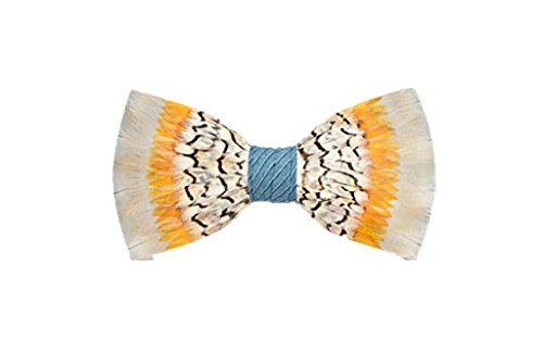 Brackish Stono Quail Pheasant and Partridge Feather Mens Bow Tie (BRK-198) by Brackish