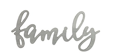 P. GRAHAM DUNN Family Faux Metal Script 16.5 x 7.5 Wood Cutout Wall Words Mounted Plaque