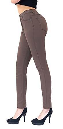 HyBrid & Company Womens Super Stretch 5 Button Hi-Waist Skinny Jeans Brown 1