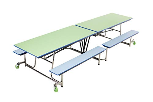 (AmTab - MBT12 - Mobile Bench Table with 4 Benches, Rectangle, 30