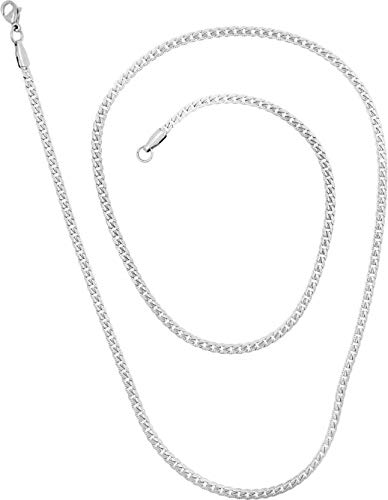 Saizen Stainless-Steel Stainless Steel and Chain for Unisex Adult – (Silver)