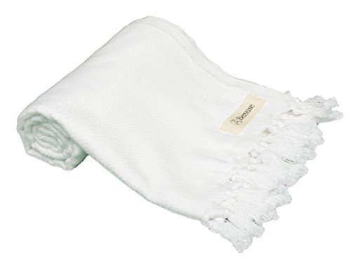 Bersuse 100% Cotton Laodicea Turkish Towel, 39X66 Inches, White (Hang Small Diamond Tag)
