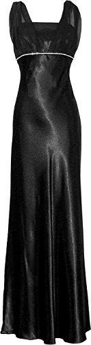 Satin Chiffon Holiday Bridesmaid Long Formal Gown Crystals Junior Plus Black Medium