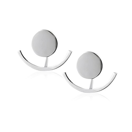 925 Sterling Silver Matte Finish Round Stud w/ Curved Drop Close to Lobe Circle Ear Jacket (Circle Earring Jackets)