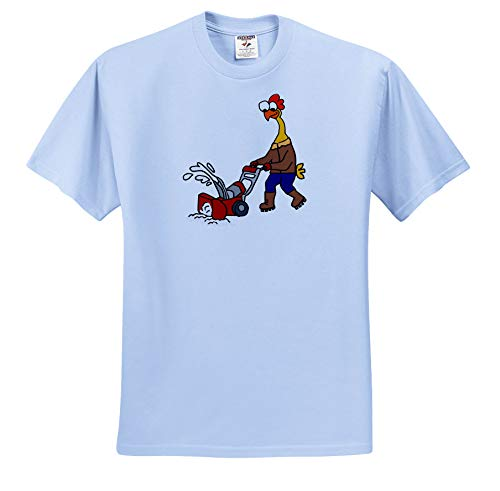 Price comparison product image All Smiles Art - Animals - Cute Funny Rubber Chicken Using Snow Blower Cartoon - T-Shirts - Youth Light-Blue-T-Shirt XS(2-4) (ts_293166_59)