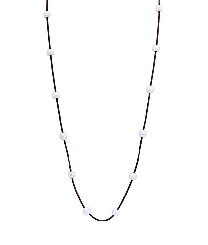 Yunhan Long Pearl Leather Necklace with Brown Genuine Leather Cord for Women (Potato Pearl Long Necklace)